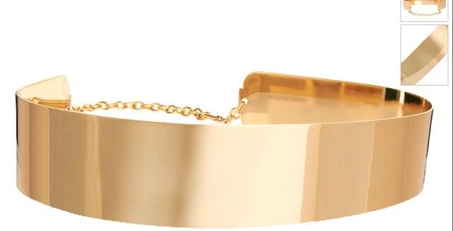 Мода женщин Украшенные Золото Полный Металлическая пластина Металлическая Зеркало Оби поясной Ремень Корсет с цепочкой украшения