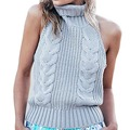 Women sexy sweaters & knitwear Europe street style sleeveless high neck pull femme sweaters turtleneck backless casual jumpers