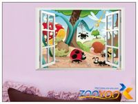 Insects family Cartoon window nursey 3d wall stickers for kids rooms 1401 decorative removable pvc wall decal