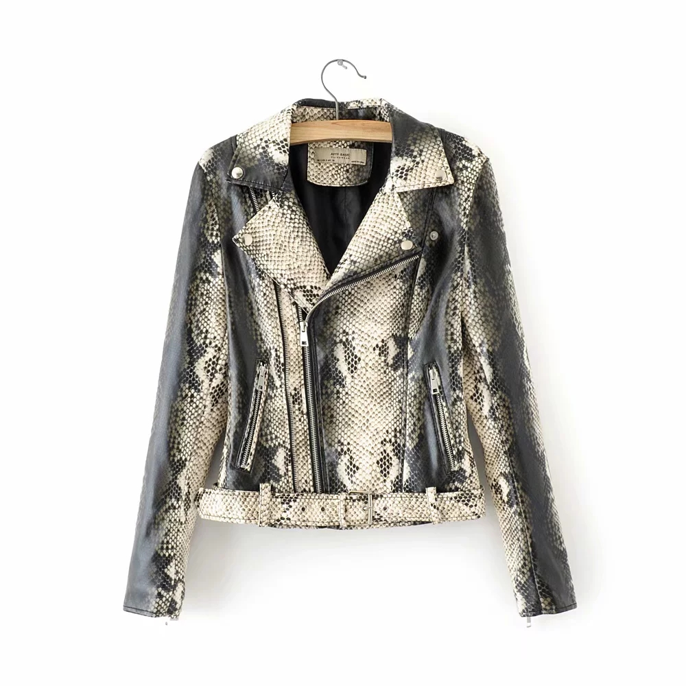 Klacwaya women vintage snake skin PU   Leather   jackets for office ladies black bomb coats feminine slim girls vintage outfit chic