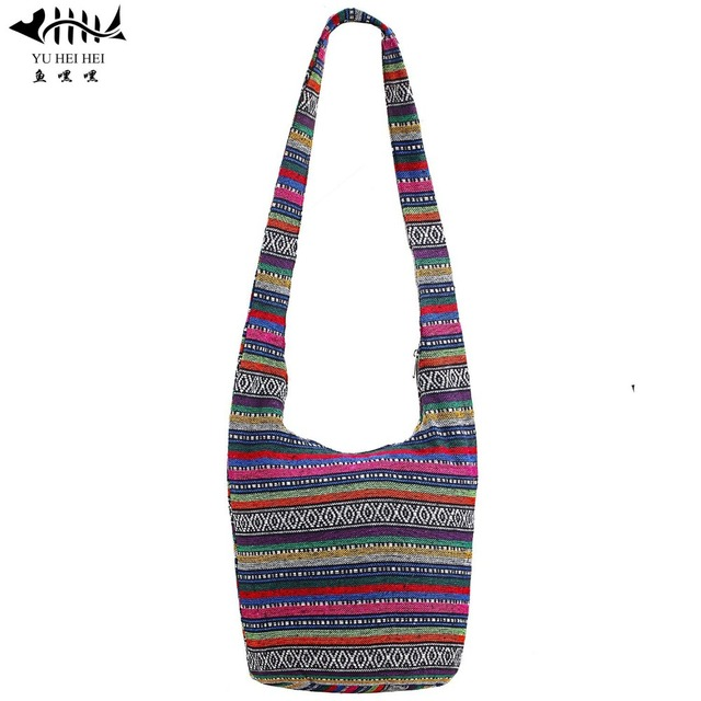 e12a034b0d Vintage Striped Bags Sling Shoulder Crossbody Bags Women Handbag Large  Travel Bag Hippie Bohemian Hipster Messenger Bucket Bag
