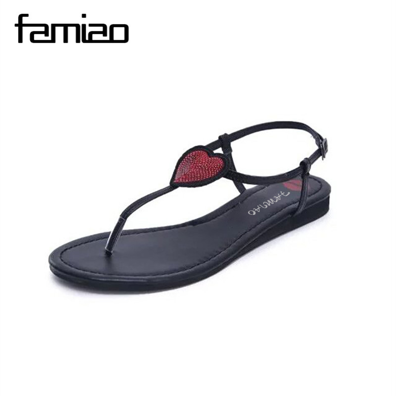 FAMIAO Pu Leather Womens Sandals 2017 Summer Fashion Open Toe T Strap Beach Shoes Flip Flop Flats Black Sandals Ladies Shoes sandals 2016 new famous brand buckle womens flip flop sandals summer beach sandals af327