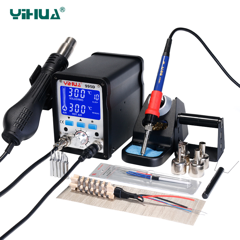 YIHUA 995D Soldering Station 60W Large Soldering Iron 650W Hot Air Gun With Free Gift 2