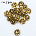 11x6mm Wholesale Price Flower Tire pattern 15pcs Antique Metal Gold Spacer Beads for Jewelry Making