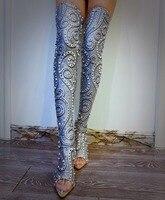Высокие серебристо серые сапоги со стразами и жемчугом, изящные туфли на высоком каблуке, певица, танцевальный сценический, аксессуары для
