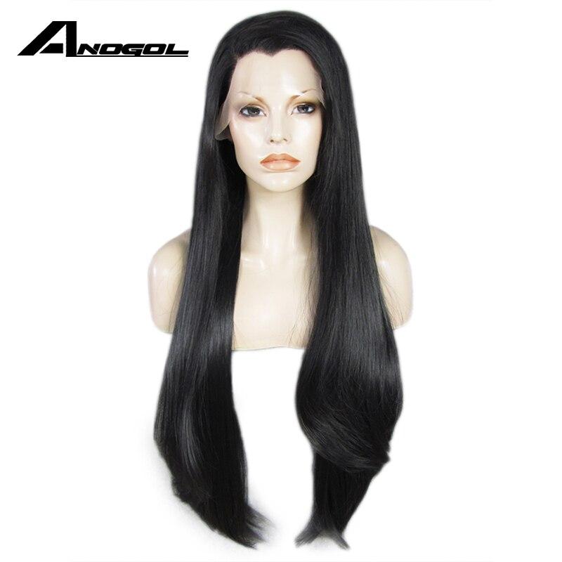 Anogol Черный Длинные прямые Полный Искусственные парики высокое температура волокно бразильский волос синтетические волосы на кружеве