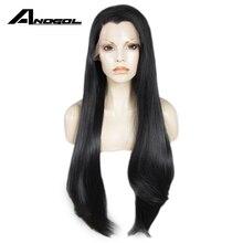 AnogolสีดำยาวตรงFull Wigsเส้นใยอุณหภูมิสูงบราซิลลูกไม้ด้านหน้าวิกผมผู้หญิงWidow Peak