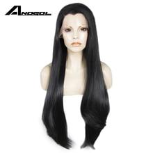 Anogol 블랙 롱 스트레이트 전체 가발 고온 섬유 브라질 머리 합성 레이스 프런트 가발 여성을위한 위도우 피크