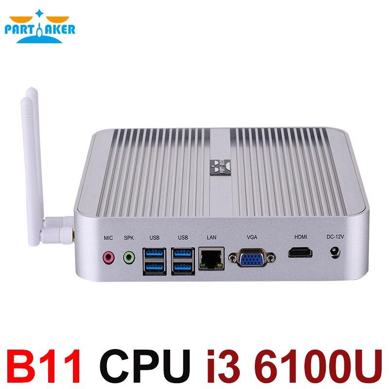 SKYLAKE Core i3 6100U Fanless Mini PC Windows 10 TV Box 4K HD Mini PC i3