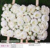 10PCS Lot 40cm 60cm Artificial Silk Pure White Peonies Flower Wall Wedding Decoration Home Decor Party