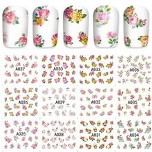 12 sheets beauty Flower Design Nail Art Full cover Water Transfer decals NAIL STICKER SLIDER TATTOO Nail Accessories tools A036
