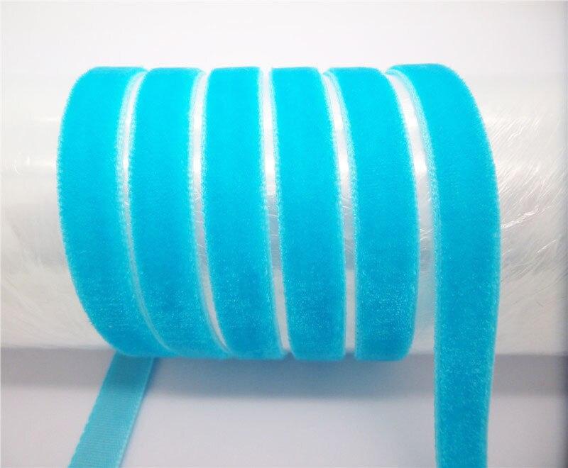 "DIY 5 ярдов 3/"" 10 мм мягкая удобная бархатная лента много цветов на выбор - Цвет: light blue"