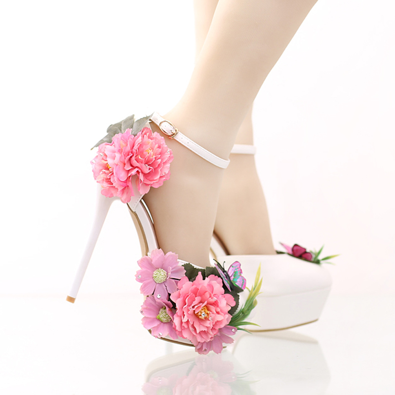 ФОТО Fashion Flower Bridal Dress Shoes Platform Formal Dress Shoes with Ankle Straps New Designer Party Prom Pumps Super High Heels
