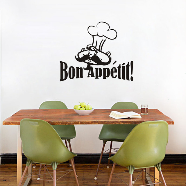 Chef With Moustache Wall Sticker For Kitchen Decor Bon Appetit Quote Dining Room Vinyl Decal
