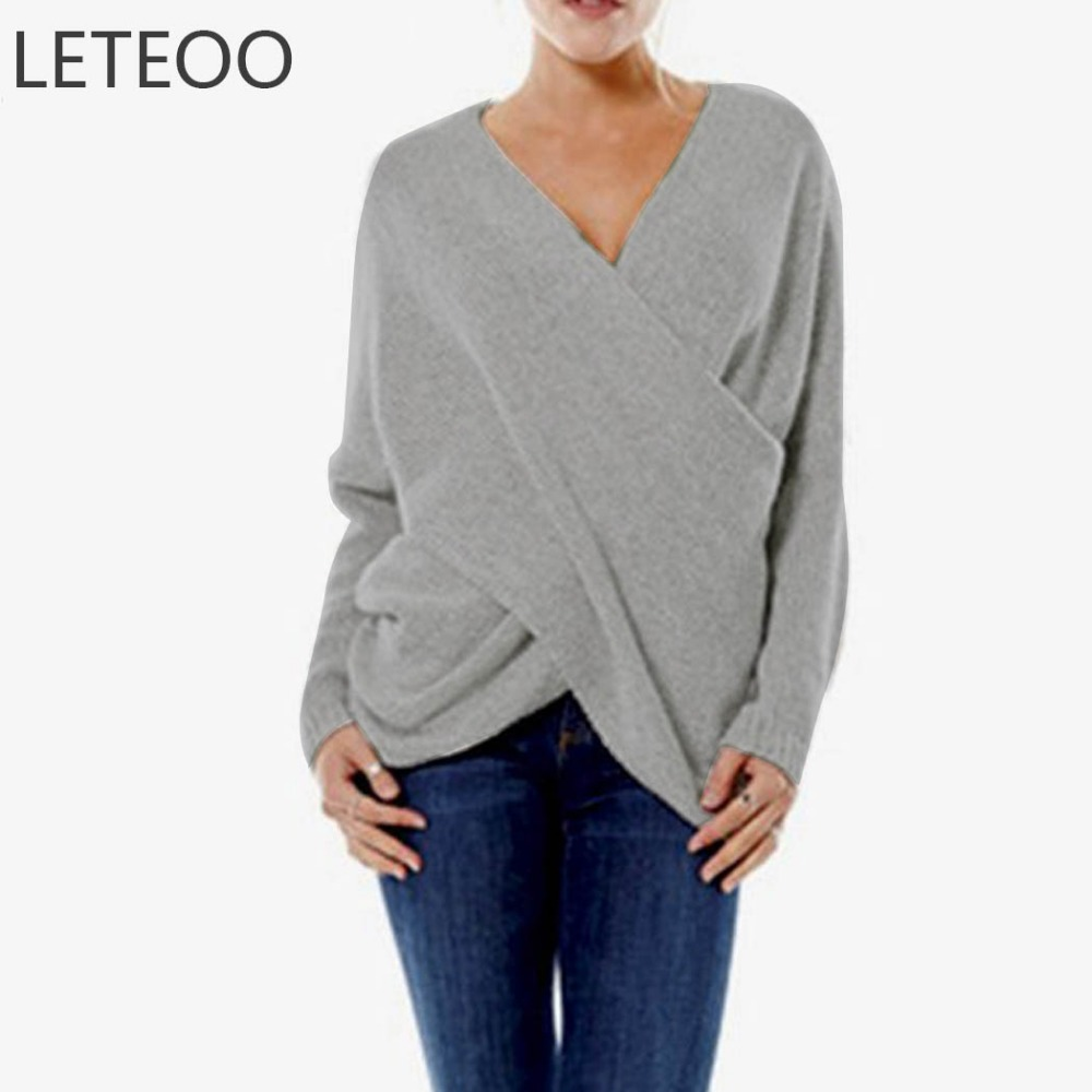 LETEOO Criss Cross Sweater Women Autumn Winter Clothes V Neck Drop Shoulder Long Sleeve Wrap Pullover Sweaters Pull Femme JDB30