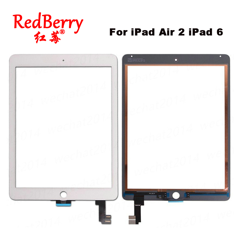 Redberry For iPad Air 2 iPad 6 A1567 A1566 Replacement Touch Screen Digitizer Glass No Home Button White Black Free Shipping replacement new touch screen digitizer glass without home button for ipad 3 ipad 4 black white free shipping
