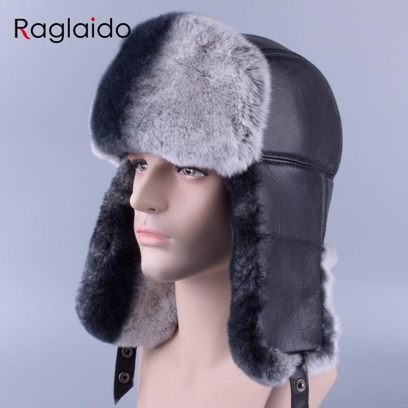 Raglaido winter men s fur hats made of real fur sheep skin Ushanka Snow Rabbit Black