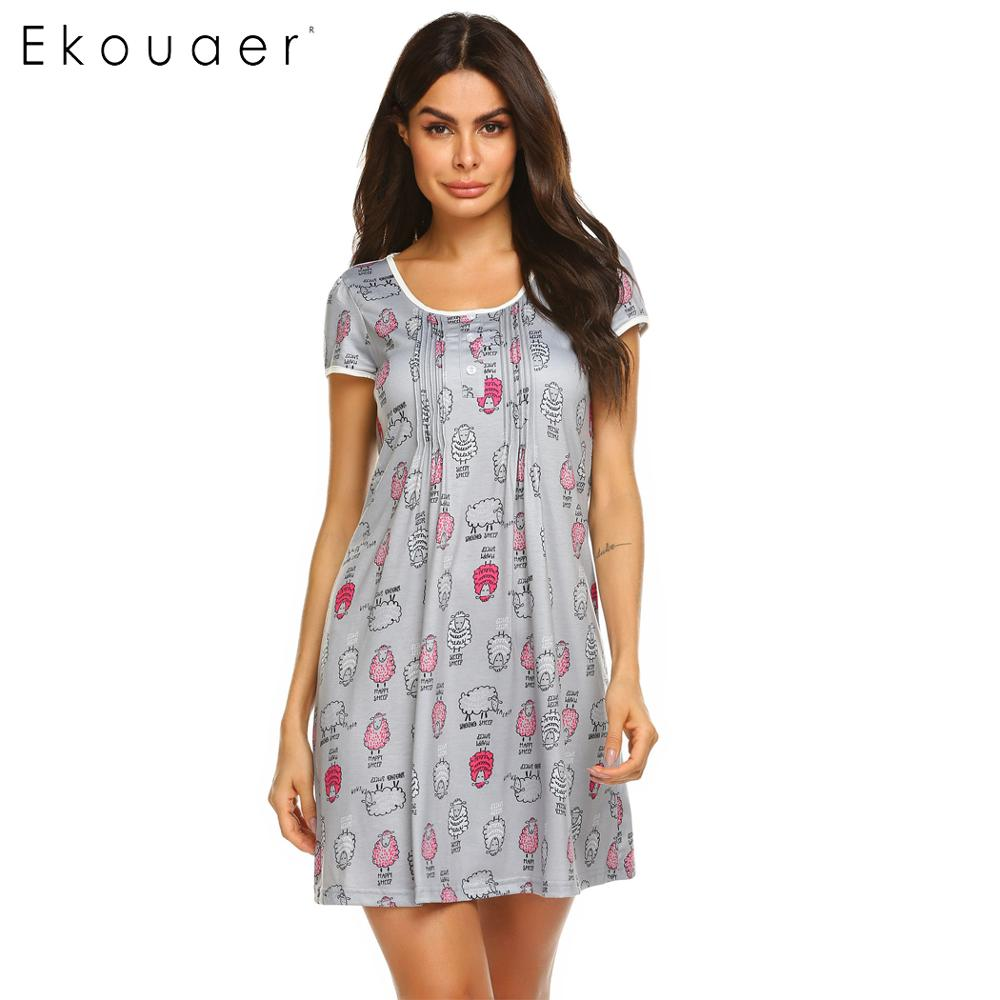 Ekouaer Women Print   Nightgown   Summer   Sleepshirt   Nightdress O-Neck Short Sleeve Nightwear Sleeping Dress Female Soft Home Clothes
