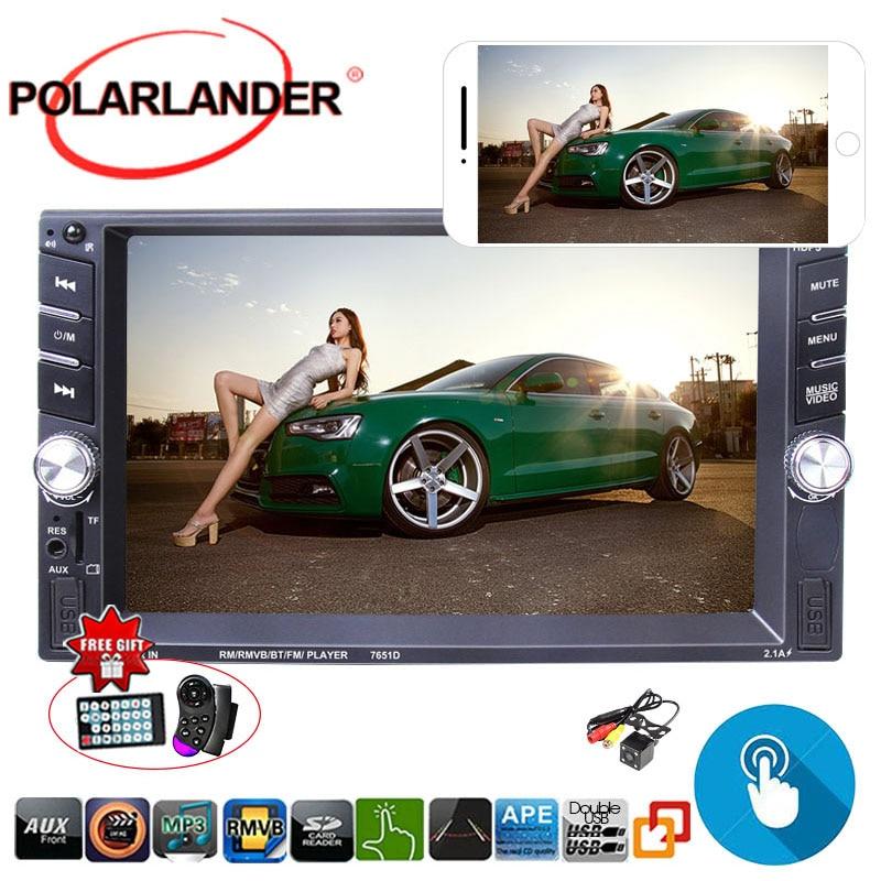 Autoradio 2 Din Auto audio ecran tactile autoradio Bluetooth HD Mp5 Radios chargeur miroir volant ctrol 9 languanges