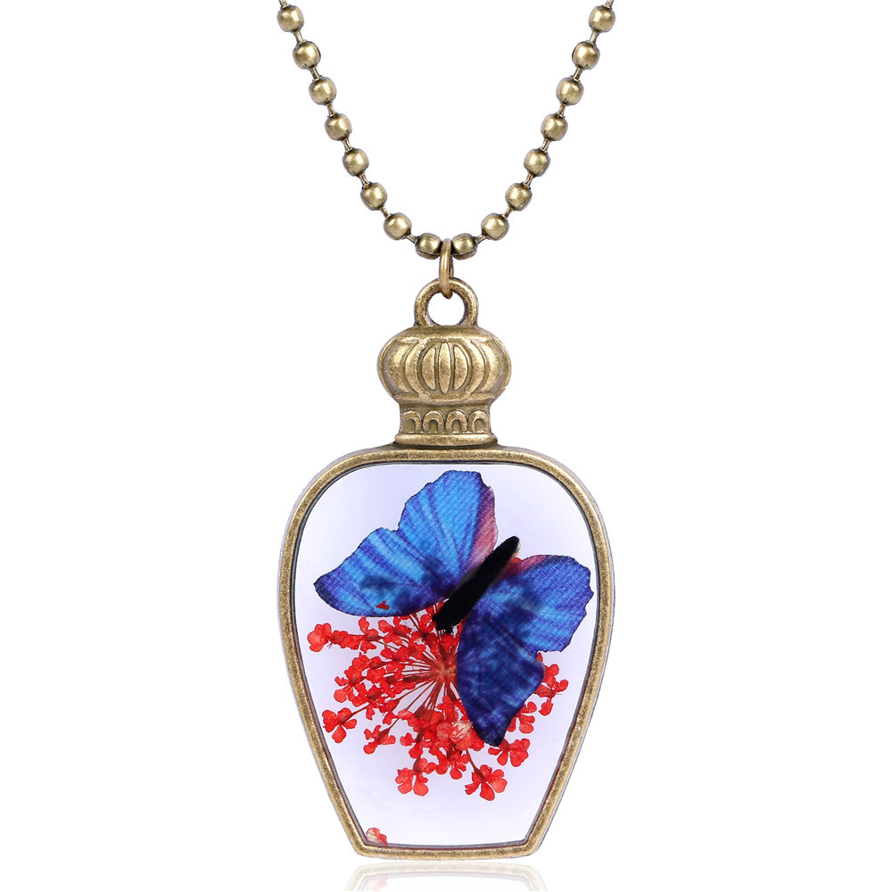 Hot sale retro natural dry flower pendant antique bottle butterfly retro natural dry flower pendant antique bottle butterfly handcrafted necklace bead chain jewelry wholesale promotion drop ship izmirmasajfo
