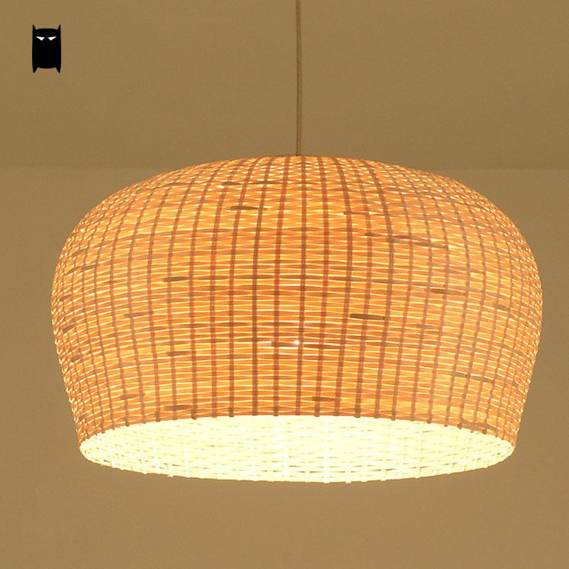 Bamboo Wicker Rattan Shade Pendant Light Fixture Asian Japanese Tatami Hanging Lamp Avize Luminaria Dining Table Room Restaurant natural black bamboo wicker lampshade hat large pendant light antique chinese asian rattan hanging ceiling lamps foyer lighting