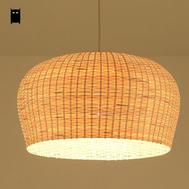 Bambou En Osier Rotin Ombre Pendentif Luminaire Asiatique Japonais Tatami Lampe Suspendue Avize Luminaria Table À Manger Salle de Restaurant