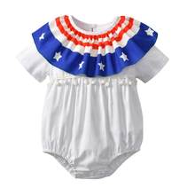 2018 New baby rompers Newborn Infant Baby Summer clothes Stars Striped Rompers Jumpsuit 4th Of July Outfits Clothes c614(China)