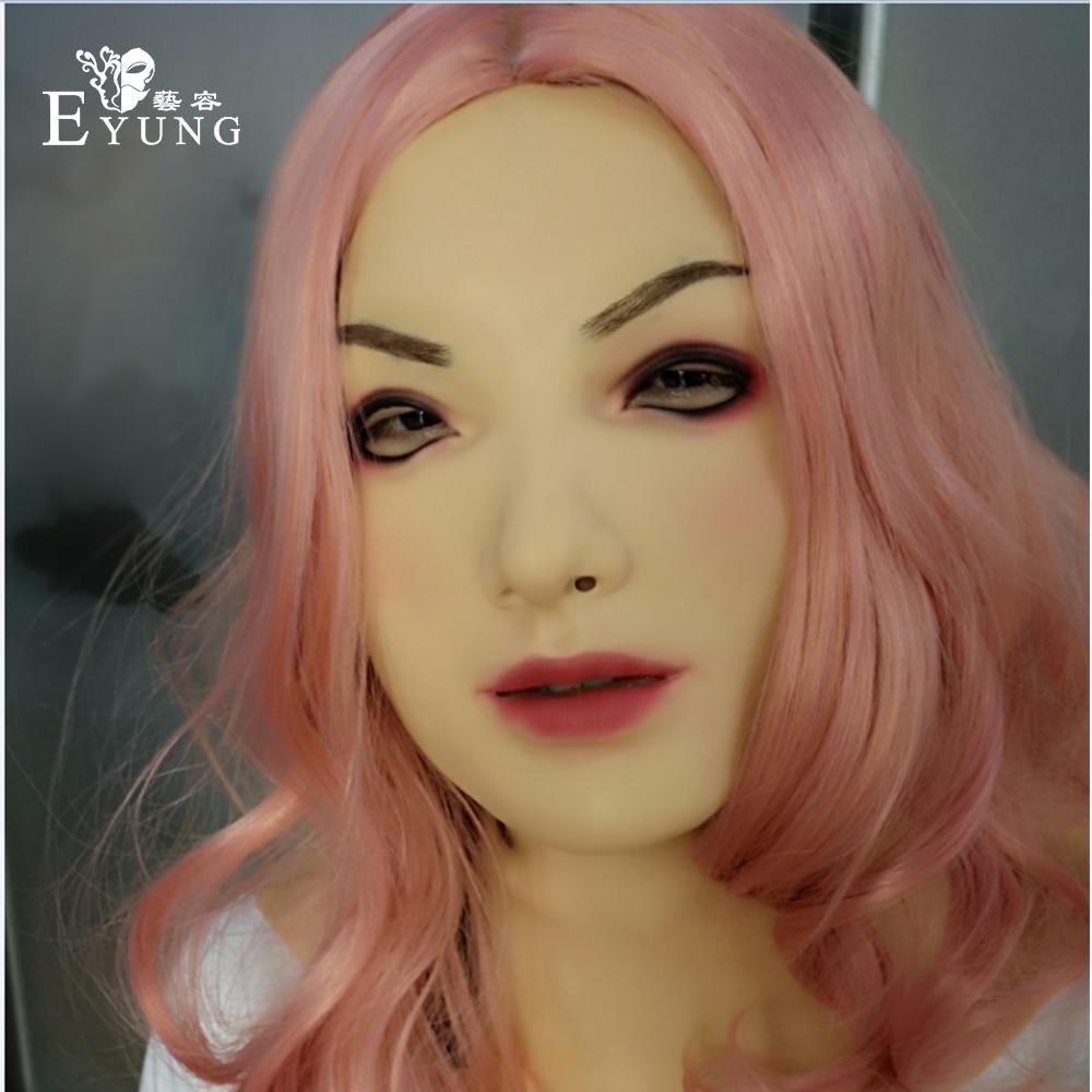 EYUNG2019 nouveau masque féminin trahis ange masque Silicone femme masque très réaliste avec cou pour crossdresser shemale Drag queen