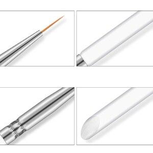 Image 4 - 3Pcs/set Kolinsky Nail Art Brush Crystal Acrylic Thin Liner Drawing Pen Painting Stripes Flower 2 side Nail Art Manicure Tools