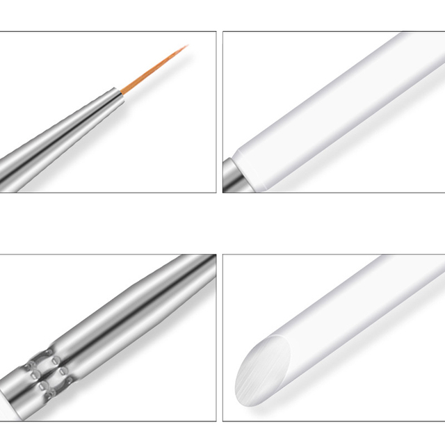 3Pcs/set Kolinsky Nail Art Brush Crystal Acrylic Thin Liner Drawing Pen Painting Stripes Flower 2 side Nail Art Manicure Tools 3