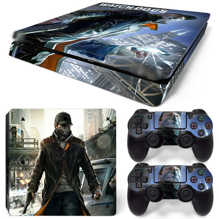 Free Drop Shipping FOR Ps4 Slim Playstation 4 Slim Console Skin Decal Sticker-WATCH DOGS 2 TN-P4Slim-1500
