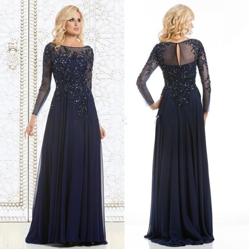Evening-Dresses Crystal Mother-Of-The-Bride-Dress Long-Sleeve Party Formal Elegant A-Line