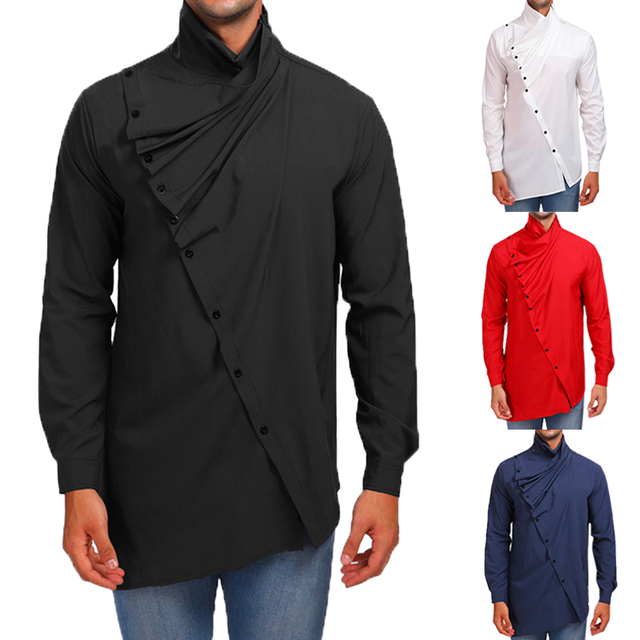 ae0a116729f6 New Design Mens Shirts Dress Solid Turtleneck Button Up Autumn Long ...
