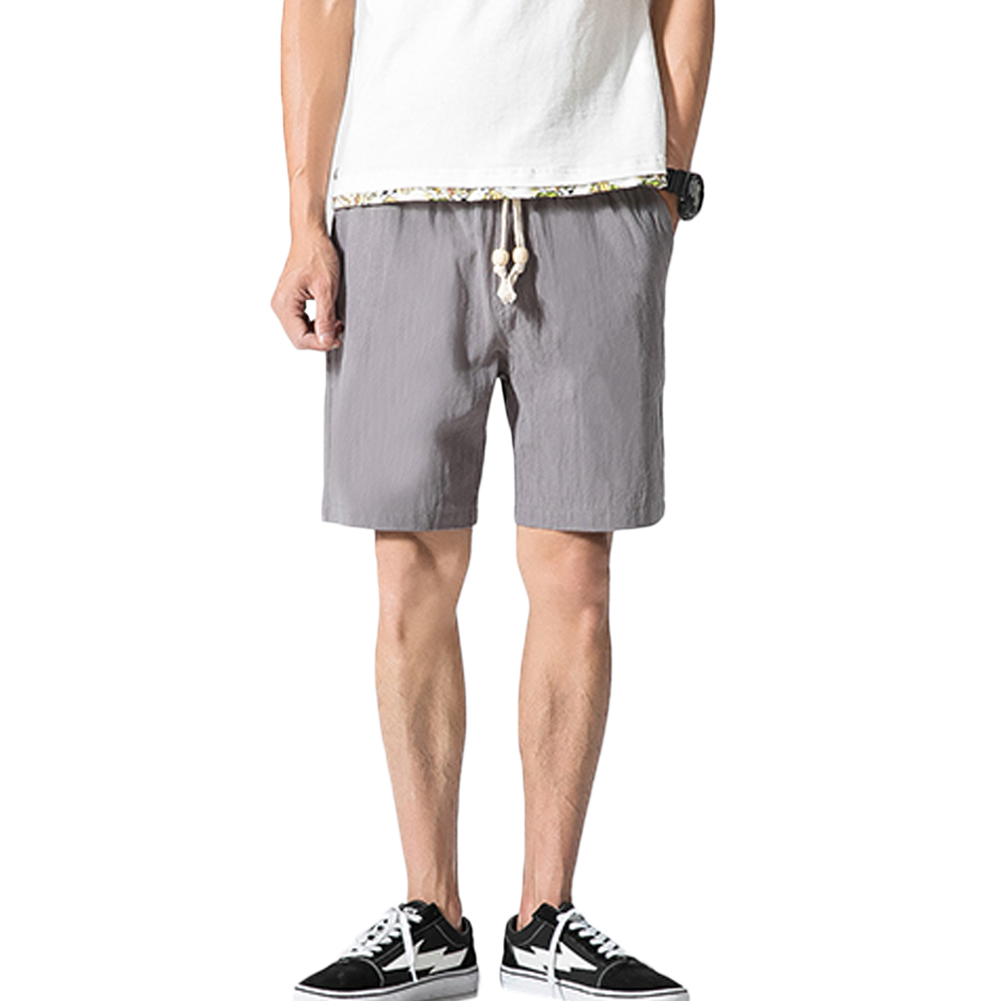 YJSFG HOUSE Hotwear Mens Shorts Casual Baggy Drawstring Pockets Cargo Short Trousers Cotton Linen Home Beach White Shorts Out