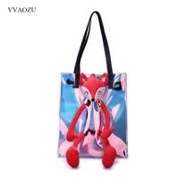 Colorful Reflective Fox Bear Animal Messenger Shoulder Bag Handbag Funny Harajuku Women Shopping Tote Bags Purse