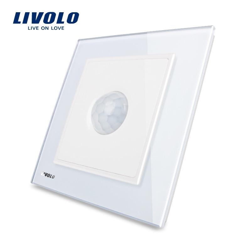 Fabricante, Livolo nuevo interruptor de inducción humana, Panel de cristal blanco, AC 110 ~ 250 V interruptor de la luz de la pared W291RG-12/11/13