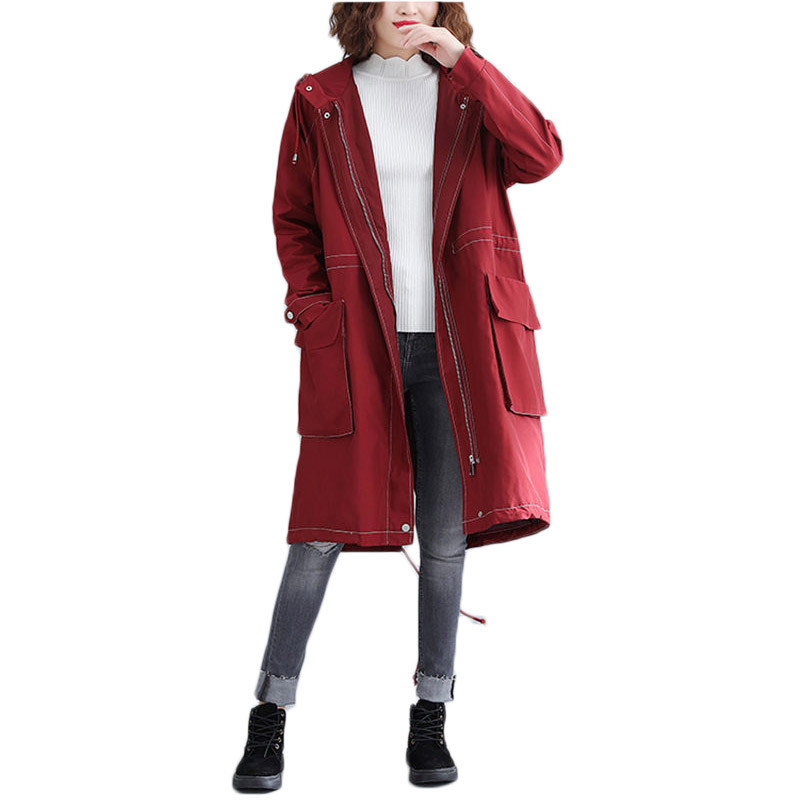 Oversize Long Military Uniform Spring   Trench   Coat Large Size Women Outwear 2019 New Loose Long Hooded Zipper Blouson Femme f057