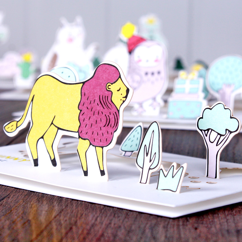 5 Pcs Creative Forest Animals Cartoon 3D Greeting Card Postcard Birthday Gift Message Card Letter Envelope Gift Card