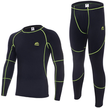 Outdoor Sports Fitness Underwear Set Winter Fleece Mens Cycling Base Layers Men Thermal Warm Long Johns Running Top Pants Suits