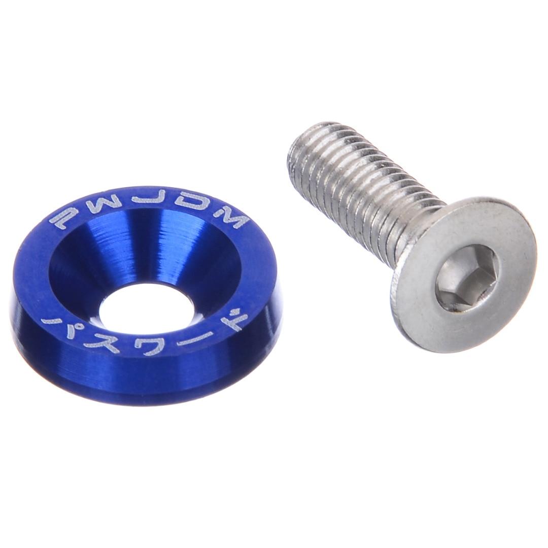 10Pcs M6x20 Size Aluminum Blue/Black/Silver/Red/Purple/Green Fender Bumper Washer Bolt Fit 10mm Hole Bolt Car Accessories