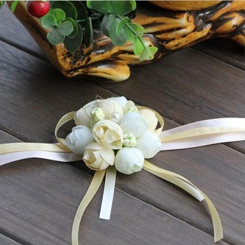 100Pcs/Lot Bride Wrist Flower Wedding Boutonniere Champagne Rose Groom Groomsman Artificial Corsage Suit Decorative Accessories