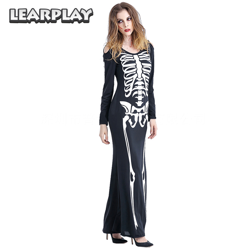 Women Day of the dead Costume Skull Print Mexico Halloween Bride Carnival Costumes Fancy  Disfraces Dance Dress