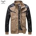 Прохладный куртка brand new clothing styles тенденция хит цвет сшивания кожи рукав куртки высокого качества мягкий осень толстый слой куртки