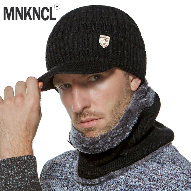 5eaed5fa700 MNKNCL Winter Beanies Men Scarf Knitted Hat Cap Mask Gorras Bonnet Warm  Baggy Winter Hat For