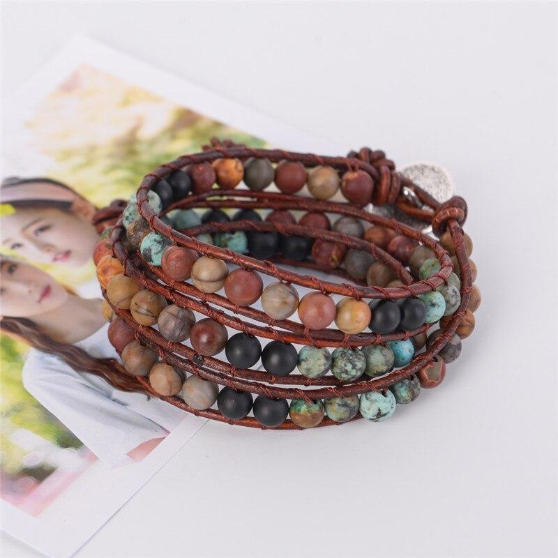 Único pulsera pulseras de cuero de 3 hilos pulseras tejido multicapa pulsera Boho hecho a mano joyería Dropshipping. exclusivo.