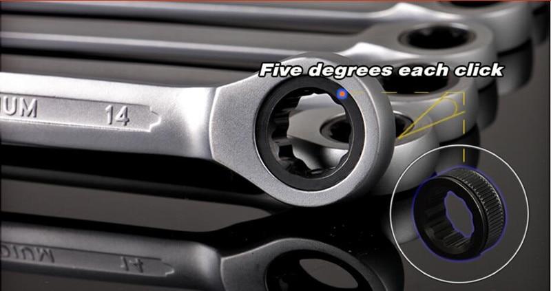 YOFE 8-13 mm-es 6db-os univerzális racsnis kulcs, autójavító - Szerszámkészletek - Fénykép 5