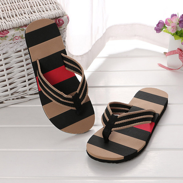 Men Mixed Colors Sandals Male Slipper Stripe Flip Flops Indoor Or Outdoor Flip Flops Summer Shoes Hot Selling New Arrival
