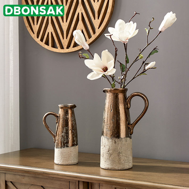 Ceramic Flower Pot Retro Gold Color To Do The Old Pottery Clay Vase Flower Arrangement Simulation Stoneware Home Furnishings