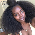 Densidad pesada 300% Densidad Rizado Rizado Peluca Llena Del Cordón del pelo Humano Pelo de la virgen Brasileña Sin Cola Frente Del Cordón de la Peluca del pelo del bebé libre parte
