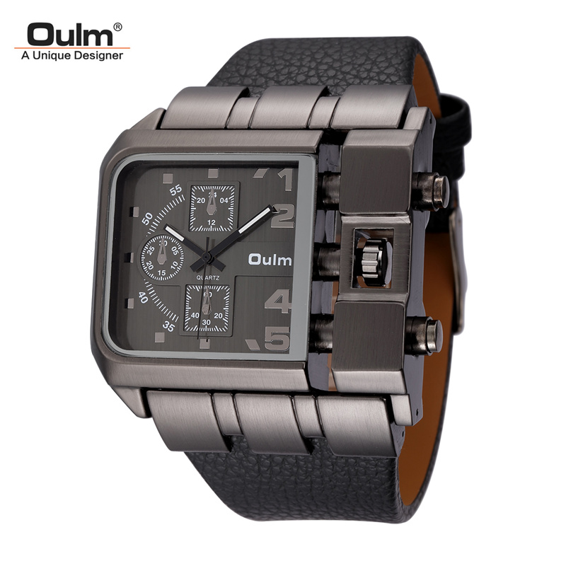 Oulm Big Size Men's Square Watches Male Quartz Clock Casual PU Leather Wristwatch Luxury Brand Military Watch reloj hombre oulm new arrive double time zone sports watches men luxury brand pu leather big wristwatch male quartz watch relojes hombre
